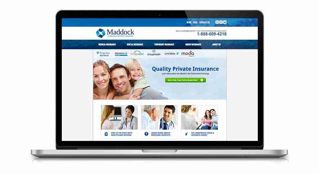 Maddock Insurance - Laptop View