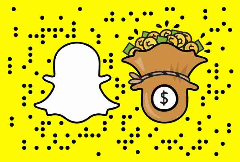 Snapchat Logo and Moneybag Graphic
