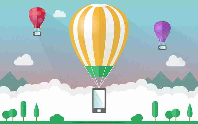 Cell Phones suspended by Hot Air Balloons