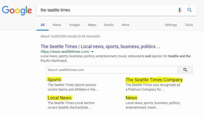 Google Search Listing - Seattle Times Example